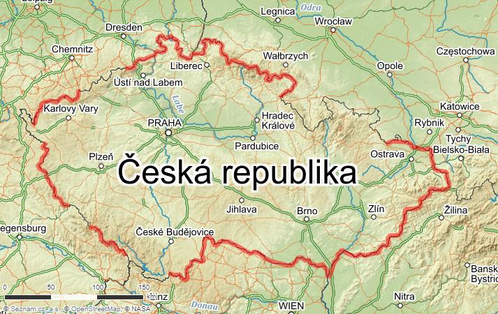 Mapa Expedice česká hranice